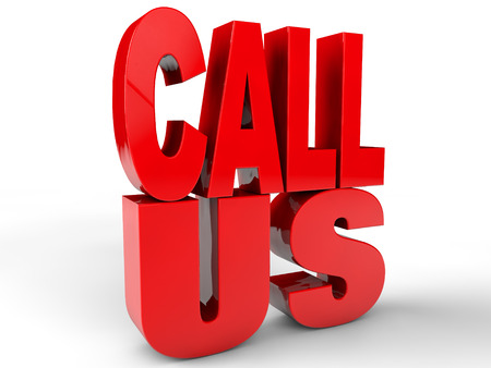 Call us over white Background Stock Photo