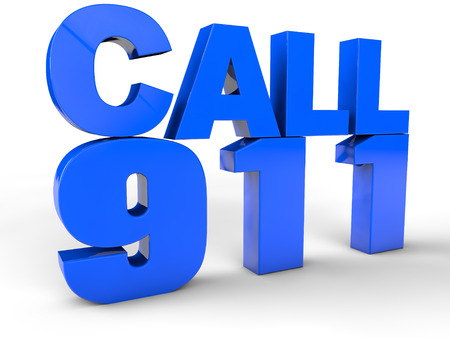 emergency call: Call 911 3d text over white Background