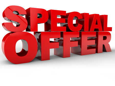 Special Offer - 3D Text over white Background