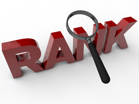rank: Rank - 3D Text over white Background Stock Photo