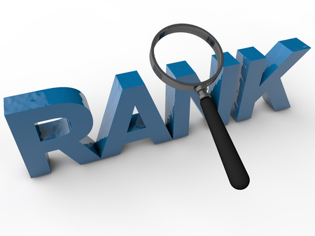 Rank - 3D Text over white Background Stock Photo