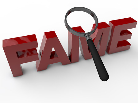stardom: Fame - 3D Text with Magnifier over white Background Stock Photo