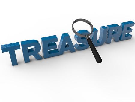 treasure box: Treasure - 3D Text over white Background