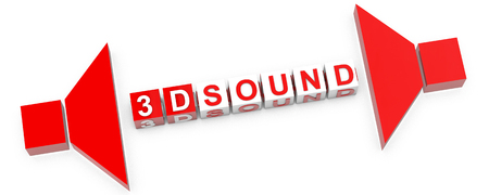 mega phone: 3D Sound - Text in cubes and speaker icons over white background