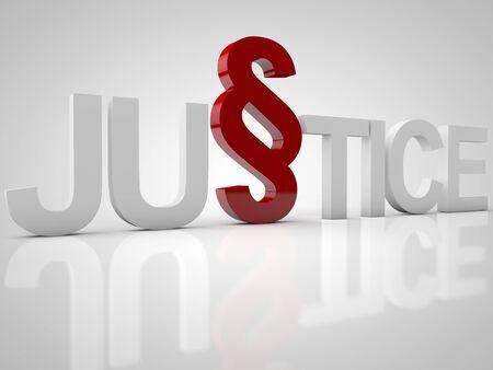 Justice - 3D-tekst op een witte achtergrond