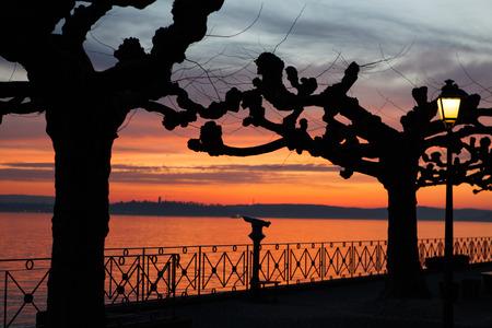 friedrichshafen: Sunset at Lake Constance Meersburg Stock Photo