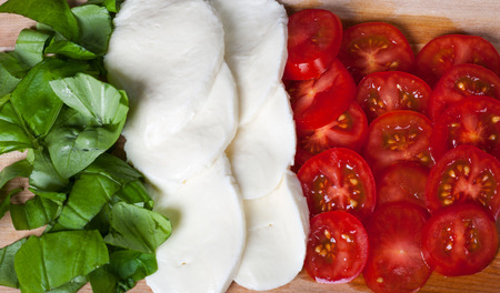 Italian flag made out of typical italian food
