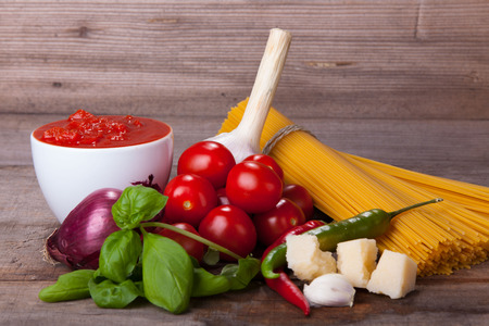 Ingredients for a delicious plate of italian pasta Stock Photo