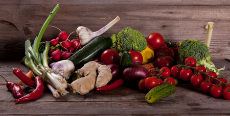 assorted Vegetables on wooden table Stock Photo