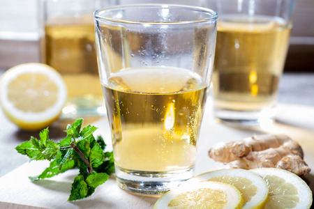 ice lemon tea: organic Ginger Ale a cool summer drink Stock Photo