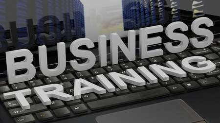 finacial: Business Training - concept on computer keyboard