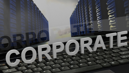 Corporate - concept on computer keyboard