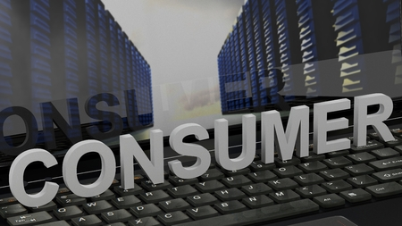 Consumer - Concept on Computer Keyboard Stock Photo