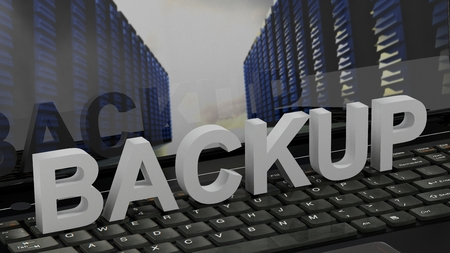 Backup 3D on a Keyboard in front of screen