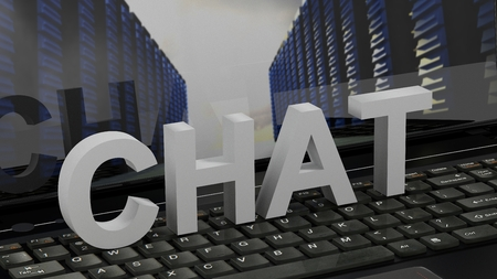 chat: Chat - concept on computer keyboard Stock Photo