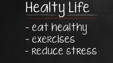exercices: Healthy Life concept on Black chalkboard