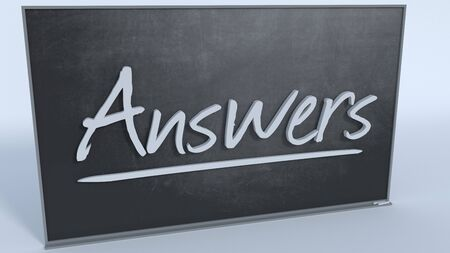 answer: Answer on black Chalkboard 3D