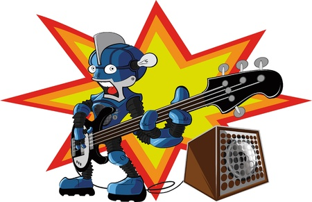 bassist robot Stock Vector - 9623101