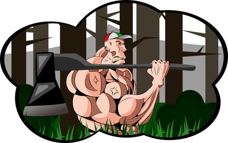 brawny woodcutter Ilustrace