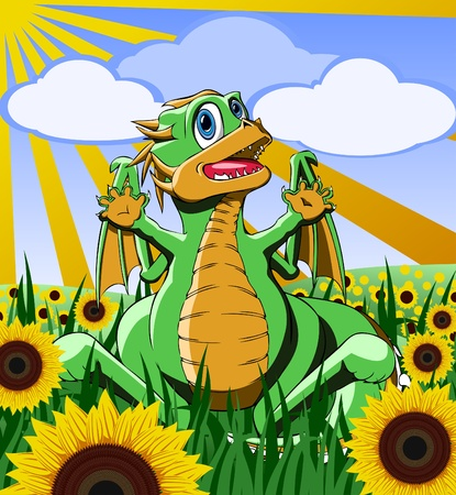 dinosaur in the field of sunflowers