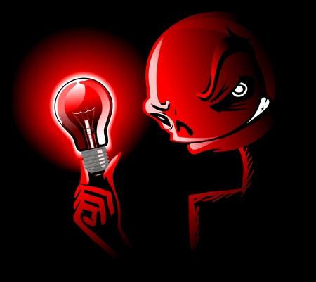 red light illuminates a scary face Stock Vector - 9623110