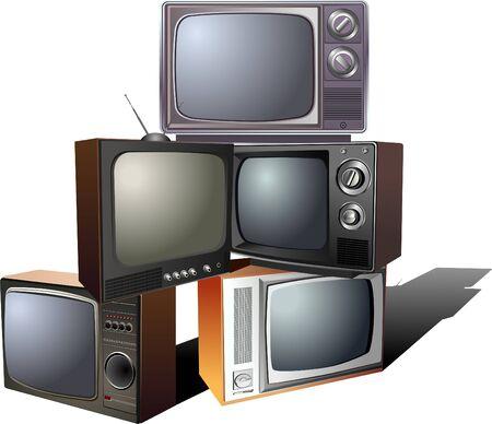 pyramid of retro tv  イラスト・ベクター素材