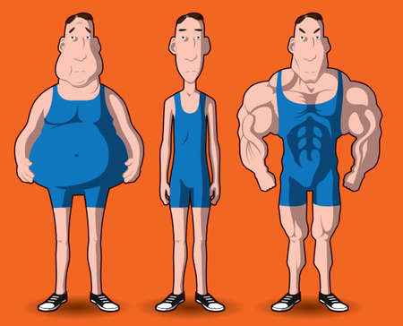 'fit body': Body transformation  The transformation of the body - fat to muscular  Illustration