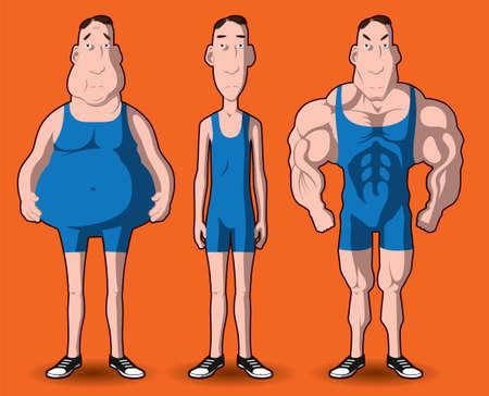 hombre flaco: La transformaci�n del cuerpo La transformaci�n del cuerpo - grasa para musculoso Vectores