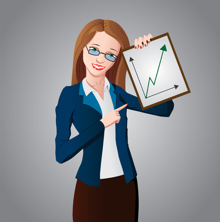 Woman manager in a blue jacket and white shirt is holding a tablet with a growth graph