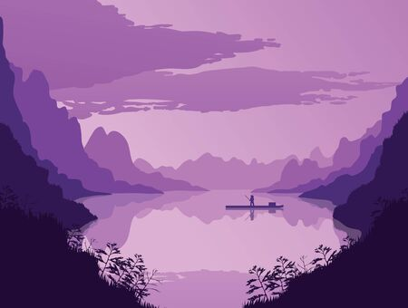 A high quality background of landscape with river and mountains. Dawn on a background of a mountain landscape. Flat style. Ilustrace