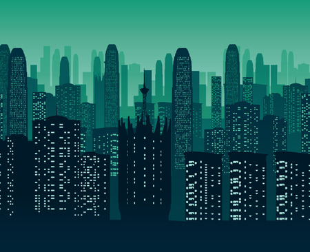 A high quality background of night city. Flat style.