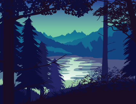 A high quality background of landscape with river, forest and mountains. Sunset on a background of a mountain landscape. Flat style. Illustration