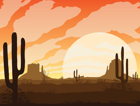 A high quality background of landscape with desert and cactus. Sunset on a background of a mountain landscape. Flat style. 向量圖像