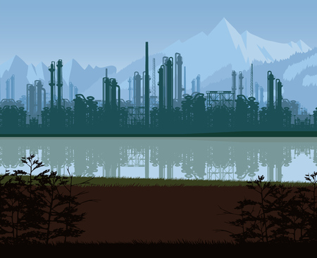 A high quality background of oil and gas refinery. Flat style. Illustration