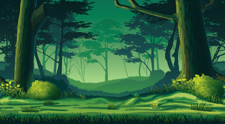 A high quality horizontal seamless background with forest Vectores