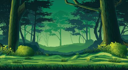 Wysokiej jakości poziome bezszwowe tło z lasem Ilustracje wektorowe