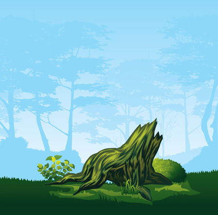 A high quality illustration of colorful stump with a curved crown