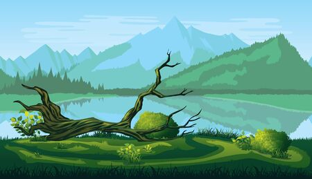 A high quality horizontal seamless background of landscape with river, forest and mountains. Ilustrace