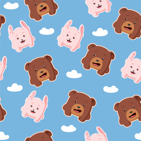 Cute cartoon vector seamless pattern with rabbit and bear