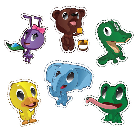 Cute cartoon vector badges with animals. Set with ant, bear, crocodile, duck, elephant, frog
