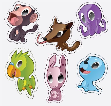 Cute cartoon vector badges with animals. Set with monkey, numbat, octopus, parrot, rabbit, seal Illustration