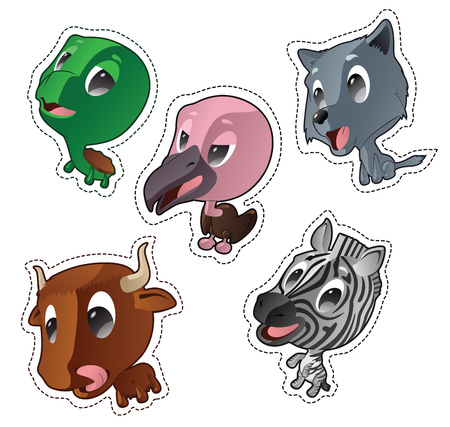 Cute cartoon vector badges with animals. Set with turtle, vulture, wolf, yak, zebra Illustration