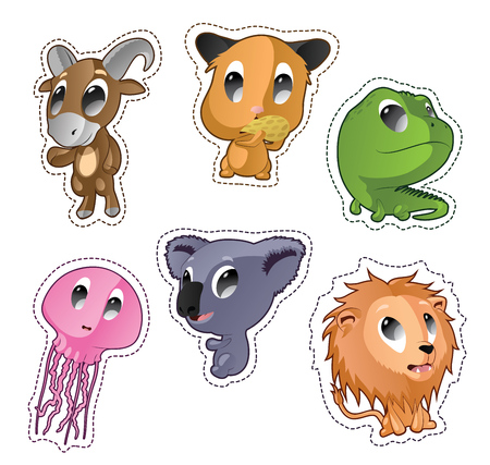 Cute cartoon vector badges with animals. Set with goat, hamster, iguana, jellyfish, lion Illustration
