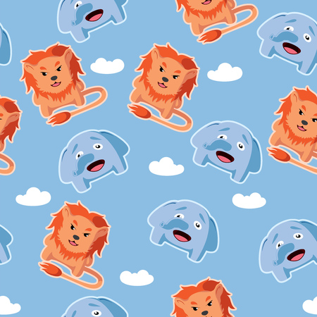 Cute cartoon vector seamless pattern with lion and elephant