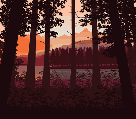 A high quality background of landscape with river, deep forest and mountains. Flat style.