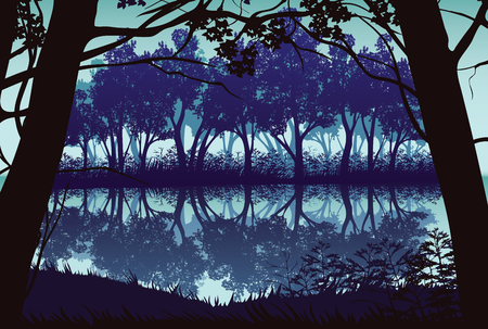 A high quality background of landscape with river and deep forest. Flat style. Illustration