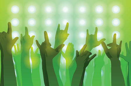 Rock concert. Hands up. Sign of the horns. Flat style