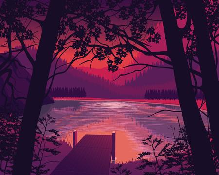 Een hoge kwaliteit achtergrond van het landschap met de houten pier in de buurt van het meer, bos en bergen. Twilight op een achtergrond van een berglandschap. Vlakke stijl. Vector Illustratie