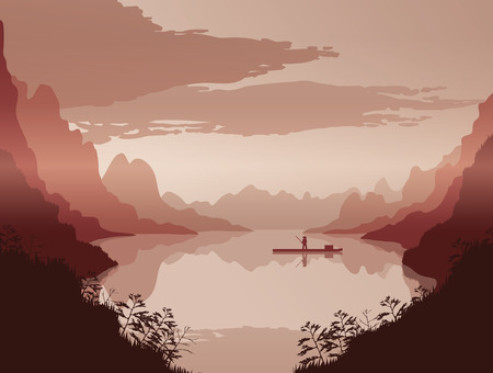 A high quality background of landscape with river and mountains. Dawn on a background of a mountain landscape. Flat style. Illustration