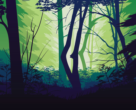 A high quality background of landscape with deep forest. Flat style.